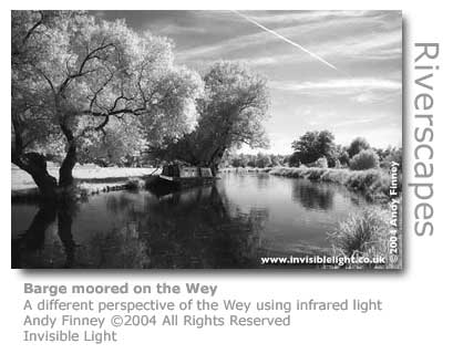 Andy Finney's infrared photo of a barge moored along the Wey