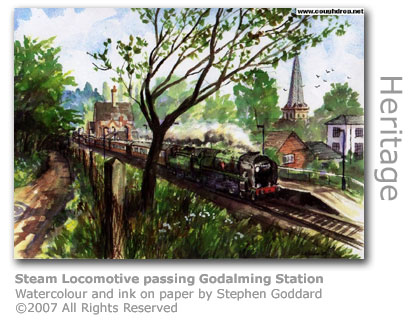 Steam Locomotive at Godalming Station by Stephen Goddard