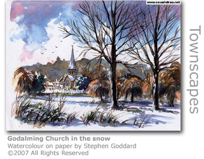 Godalming Church in the snow by Stephen Goddard