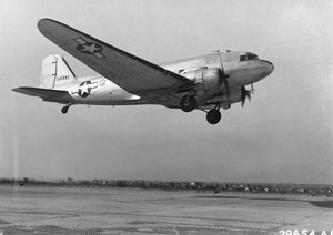 A C47 Skytrain - aka Dakota - similar to that of the Lilly Bell II that crashed in 1944 in Jacobs Well, Guildford