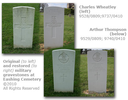 Eashing Cemetery, Godalming - repair of vandalised milititary gravestones 2010