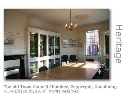 The old Godalming Town Council Chamber at the Pepperpot