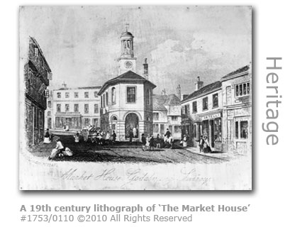 19th century lithograph of The Market House, Godalming - today the Pepperpot