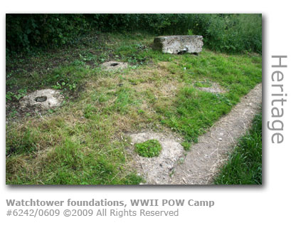 Watchtower foundations, WWII prisoner of war camp, Merrow Downs, Guildford