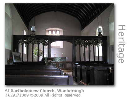 St Bartholomew Church interior, Wanborough near Guildford