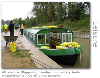 All-electric passenger boat Wiggonholt on Wey & Arun Canal